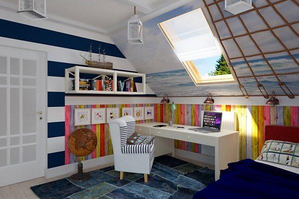 Обустройство комнаты на мансардном этаже - 1