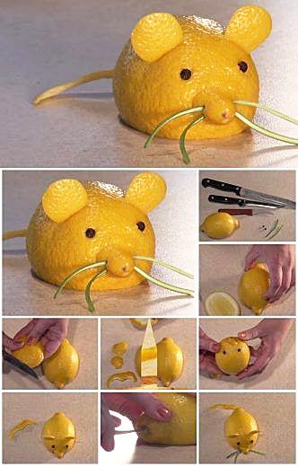 Декоративная мышь из лимона